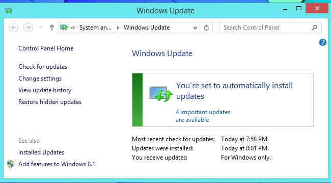 automatic update set